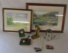 Selection of golfing memorabilia inc prints, tankard, pen, clock and paperweights etc