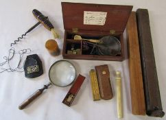 Various collectables inc mauchline ware Whitby Abbey, apothecary scales, miniature dominoes, rulers,