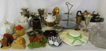 Sel. mixed ceramics, glass dressing table set, Bosson wall plaques etc. (2 boxes)