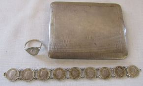 Silver cigarette case Birmingham 1926 weight 4.98 ozt with silver King George IV three pence