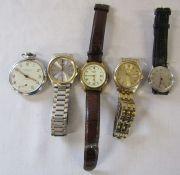 4 gents wristwatches inc Seiko and Rotary & a Kienzle pocket watch