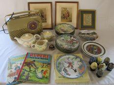 Various ceramics inc collectors plates, Bush radio, Rupert annuals and framed prints etc