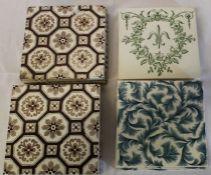 Set of 4 Wedgwood transfer printed fern pattern tiles, 9 geometric pattern tiles marked LT & 3 early