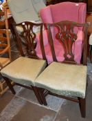Pair of Chippendale style mahogany dining chairs & an armchair