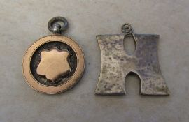 Silver fob 'Joicey cup 1936' Chester 1935 & silver 'H' pendant Birmingham 1977 total weight 0.45 ozt