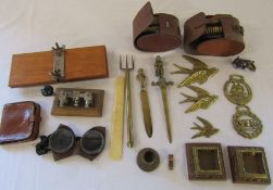 Various brassware, brush sets, goggles, morse code machine etc