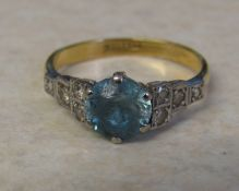 18ct gold and platinum aquamarine and diamond ring (aquamarine badly scratched/pitted) size P weight