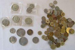 Two dollar US coin 1996, Half dollar coins 1967, 68, 69 and 71, one dollar 1972, quarter dollar