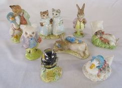 Various Beatrix Potter Royal Albert figurines - Jemima Puddle-duck made a feather nest, Babbitty