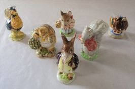 Beswick Beatrix Potter mainly undated figurines - Sally Henny Penny, Mrs Tittlemouse, Appley Dapply,