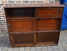Vintage cupboard / bookcase with sliding doors H 118 cm L 144 cm D 44 cm