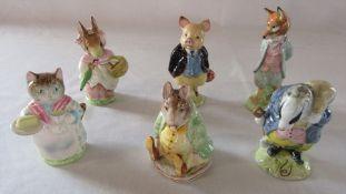 6 undated Beswick Beatrix Potter figuines - Ribby, Pigling Bland, Mrs Rabbit, Tommy Brock, Samuel