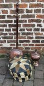Pouffe, copper samovar and warming pan