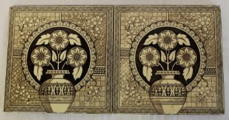 "Pair of large Victorian sepia printed tiles 8"" square"
