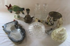 Various ceramics inc creamware, (Dresden parrott and group figurine af), pair of glass decanters,