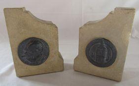 Pair of stone Houses of Parliament book ends 15.5 cm x 11 cm x 5 cm