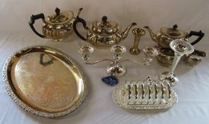 Selection of silver plate inc tea service, toast rack and candelabra