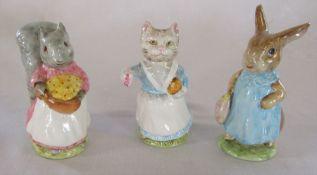 Set of 3 Beswick Frederick Warne & Co 1960s Beatrix Potter figurines - Tabitha Twitchett 1961, Mrs