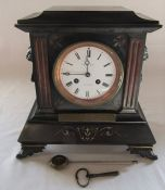 Victorian slate mantel clock 'Presented to the Rev T J Sanderson MA by the parishioners of