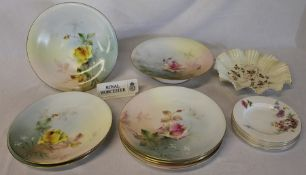 Royal Worcester comports & plates with hand-painted rose decoration & set of 4 saucers etc.