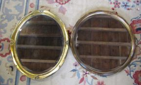 2 wall mirrors - gilt framed 57 cm x 47 cm and circular mirror D 54 cm