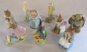 Set of 9 Beswick Frederick Warne & Co Beatrix Potter 1970s figurines - Hunca Munca sweeping 1977,