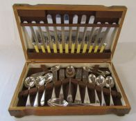 Harrison Bros & Howson oak cased half canteen of cutlery 'Presented to Lieut R R Walker by the