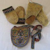 Embroidered vintage leather Eskimo gloves L 25.5 cm and bag 20 cm x 19 cm & pair of seal fur