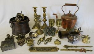 Selection of brass and copper ware including mortar, candlesticks, Lifeboat Hotel Cleethorpes soup