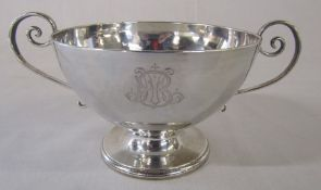 19th century French silver twin handle pedestal bowl (repair to one handle) H 8.5 cm weight 7.06