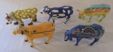 5 Cow Parade ceramic figures