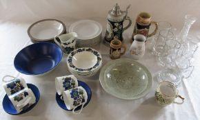 Various ceramics and glassware inc Chris Aston studio pottery bowl, Johnson Bros, Denby and King
