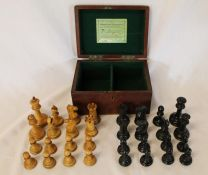 Staunton chess set by Jaques & Co in mahogany box, height of king 9cm