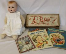"""German composition head doll, boxed Pelote & Ludo, """"Molly and the Moon Fairies"""" & 2 Lucie Attwell"""