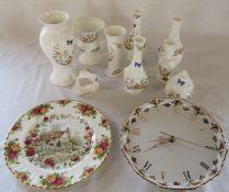 Selection of Aynsley cottage garden ceramics (tallest vase H 21.5 cm) with Royal Albert Old