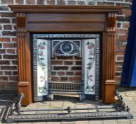 Reproduction Art Nouveau  cast iron & tiled fire place with timber surround & fender