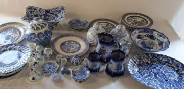 2 boxes of assorted blue and white ceramics