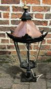 Cast iron and copper outside / street lamp (missing some glass panes) H 75 cm