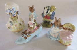 Set of 5 Beswick Frederick Warne & Co 1950s Beatrix Potter figurines - Tiny Town-mouse 1954, Tommy