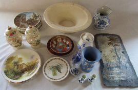 Assorted ceramics inc Wedgwood, Sylvac and Delft