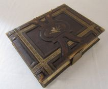 Victorian musical leather bound photograph album (no key, spine af) containing various pictures by