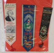 3 silk bookmarks, Independence of America (Cash), Birthday Wishes (Stevens) & Juvenile Society