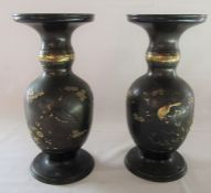 Pair of Meiji restoration period bronze Japanese vases with gilt decoration H 28.5 cm