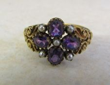 9ct gold amethyst and seed pearl ring Birmingham 1995 size W/X weight 3.7 g