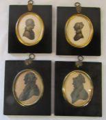 2 pairs of framed silhouettes - Mr & Mrs Chas Turner June 1832 & Thomas Pugh Leighton (1749-1834)