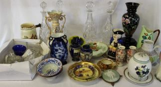 Selection of glass decanters & stoppers, mixed ceramics to include Carlton Ware jug, large musical