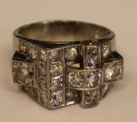 Tested as 9ct white gold abstract ring set with diamonds - approximately 2.20ct total, 16.6g, size S