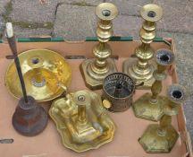 Brass candlesticks, chamber sticks etc