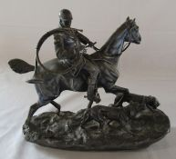 Spelter huntsman on horse back with hounds (repaired) L 27 cm H 25 cm