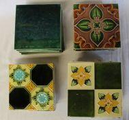 7 Art Nouveau tiles, 10 Art Nouveau style tiles & 9 green glazed tiles